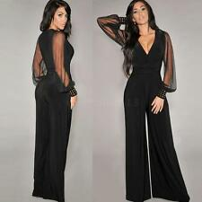 Sexy Women's Deep V-neck Long Sheer Mesh Sleeve Clubwear Party Jumpsuit Trousers