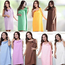 Womens SPA Bathing Long Robe Dressing Gown Wrap Drying Towel Wash Skirt Dress OK
