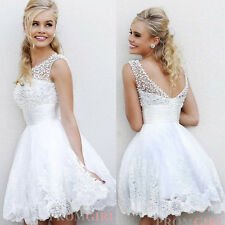 White Ivory Elegant Short A-line Wedding Dress with Pearl Size6 8 10 12 14 16