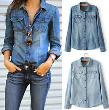 Fashion Retro Women Casual Blue Jean Denim Long Sleeve Shirt Tops Blouse Jacket