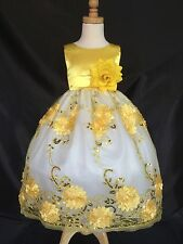 Flower Girls Bridesmaids Embroidery Yellow Dress
