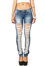 Womens Distressed Low Rise Denim Skinnys Fitted Ripped Jeans Blue Wash Machine
