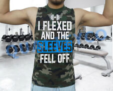 Men's I Flexed and the Sleeves Fell Off Workout Muscle Gym Camo Vest Tank Top