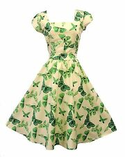 New Vtg 1950s style Green Cream Butterfly Rockabilly Pin-up Party Swing Dress
