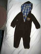 "Carter's-1 Piece Brown Hoodie Suit with Plaid Hood & ""Tough Pup"" on Chest"