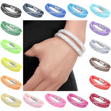 Hot Stardust Rhinestone Crystal Beads Net Mesh Magnetic Snap Bracelet Bangle
