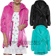 Ladies Fleece Dressing Gown UK Plus Size Bath House Robe Bathrobe Housecoat