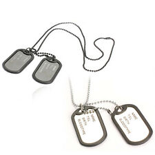 Man Dual Plates Pendant Necklace Sweater Chain Fashion Military Army Style