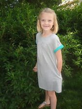 5/6 OR 11/12 NWT Gray Mini Boden Cotton Jersey Dress w/ Green Accents Short Slev