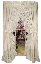"""Curtains Ruffled Priscilla Country With Tie Backs 86"""" x 63"""" Long Country Style"""