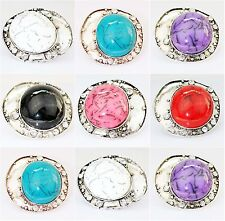 Vintage Pendant Turquoise Color Scarf Tube Slide Statement Ring Findings Charms