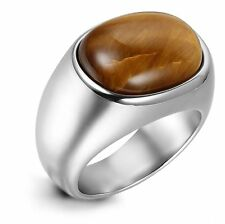 Classic Mens Silver Tiger Eye Band 316L Stainless Steel Ring US Size 7-13