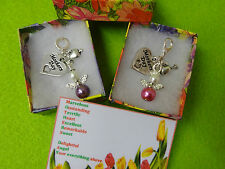 MOTHERS DAY Heart Charm Angel Bag Charm or Bracelet Necklace Gift Box Poem Card
