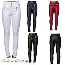 WOMENS SUPER SKINNY FIT HIGH WAIST 3 BUTTON LEATHER WET LOOK PANTS  TROUSERS UK