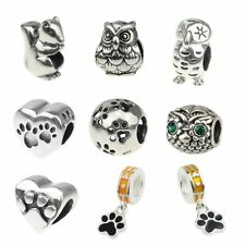 Animal Puppy Paw Wise Owl 925 Sterling Silver Charm Fit European Bracelets