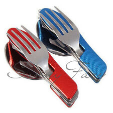 Multi Outdoor Camping Hiking Pocket Folding Spoon Fork 2-in-1 Cutlery Tool