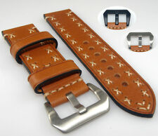 Brown Cowhide Leather Watch Band Strap Steel Buckle Hand Stitched 20 22 24 26mm
