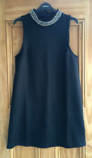 Topshop New Black Embellished High Neck Party Tunic Dress  6 8 10  Bnwot rrp=£38