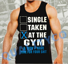 Men's Single Taken At The Gym Workout Bodybuilding Black Funny Muscle Tank Top