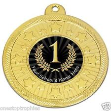 """5 x1ST, 2ND OR 3RD Medals 2"""" + Ribbon FREE Add Your School/Club Name & Engraving"""
