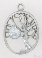 Pewter-toned & moonstone-colored enamel tree & moon fob, leather strap options