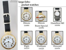 Pocket watch-themed fobs, various designs & leather strap options