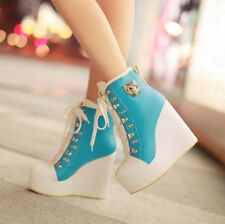 Women's Bluckle Lace Up Wedge High Heels Platform Boots Sneakers Shoes Plus Size