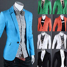 ONE Button Fashion Men's Blazer Coat Tops Casual Formal Outerwear XS S M L XL
