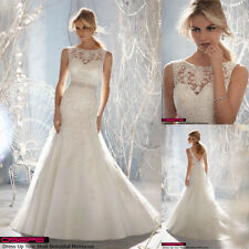 New White/ivory Wedding dress Bridal Gown custom size 6-8-10-12-14-16 +Gloves