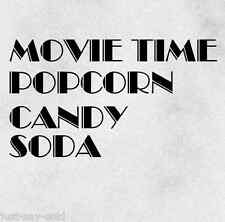 Movie Time Popcorn Candy Soda - Vinyl Wall Decal Sticker - Any Color