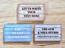 WOOD EFFECT SHABBY CHIC DOOR SIGN BLANK WALL PERSONALISED PLAQUE Add Own Text