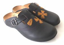 Orthaheel Deva Leather Clog w/ Arch Support Adjustable Straps Flowers Applique