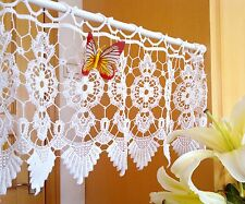 Pretty Embroidered Valance/Tier/Cafe Curtain~Hand Crochet~White~ item no 127