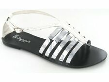 Womens Ladies Slip On Flat Summer Strappy Buckle Gladiator Sandals White/Silver