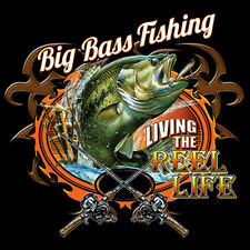 Big Bass Fishing Living The Reel Life Funny T-Shirt Tee