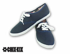 Womens Blue Canvas Shoes Lace Up Casual Sneakers Kicks Footwear Tennis Flats NEW