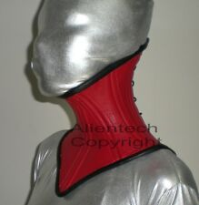 Red Real Leather Under Chin Neck Corset XS-XL
