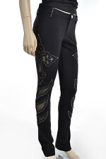 Sexy Cut Out Crystals Stones Cross Black Leggings Stretch Hot Bling Pants S M