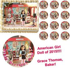 American Girl Doll 2015 GRACE THOMAS the BAKER Edible Cake Topper Image NEW!!!
