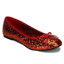 Funtasma Star-16G Red Glitter Ballet Flats - Costume,Fancy Dress,Shoes,Red,Gothi
