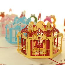 3D Pop up Merry-go-round Colorful Kids Birthday Greeting Card