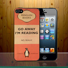 Go Away I Am Reading Retro Penguin Books Quote Quirky Hard Phone Case Cover Z406