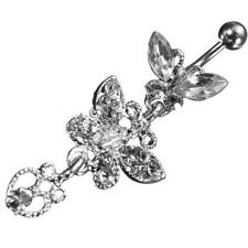 Crystal Butterfly Dangle Ball Barbell Belly Button Navel Ring Body Piercing C5