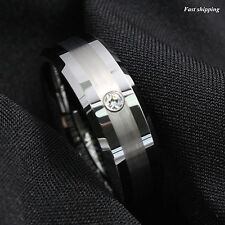 Mens Tungsten Carbide brushed ring luxury CZ Inlay comfort fit Wedding Band Ring