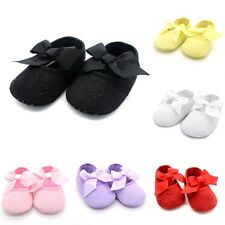 Kids Baby Girls Floral Bowknot Ribbon Prewalker Soft Sole Crib Shoes 0-18M T88