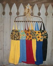 Sunflowers Bees Debbie Mumm Hanging Kitchen Cabinet Dishtowel Handmade by HCF&D