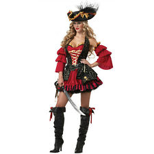 Ladies Womens Queen Caribbean Pirate Wench Halloween Costume Fancy Party Dress