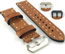 Vintage Light Brown Cowhide Leather Watch Band Strap Hand Stitched 20 22 24 26mm