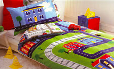 Summerville Bedding Quilt Doona Cover Set Boys Cars Trucks Kids Police Train New