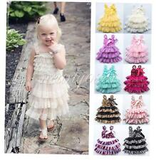 Rustic Baby Girls Toddler Wedding Lace Tulle Flower Dress Party Clothes 12M-4